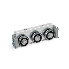 GN 2424 Carros de rodillos, aluminio o acero, medidas métricas, para rieles de guías de rodillo GN 2422 Tipo: R - Carro de rodillos radial, disposición lateral<br />Versión: X - con junta de fricción para riel de cojinetes fijos (riel en X)