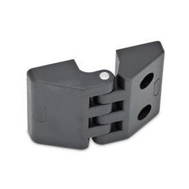 EN 155 Bisagras de plástico, diversos tipos de montaje Tipo: E - 2 orificios ciegos roscados / 2 orificios para tornillos de cabeza hueca