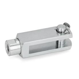 GN 751.1 Articulaciones de horquilla de acero, con eje giratorio Tipo: KL - Pasador con anillo de montaje lateral
