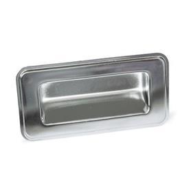 GN 7332 Bandejas de sujeción de acero inoxidable, tipo montaje con tornillos Tipo: C - Montaje por la parte posterior<br />Identificación núm.: 1 - Sin sello<br />Acabado: EP - Electropulido