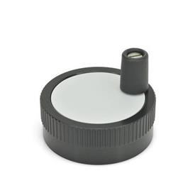 GN 736.1 Perillas de control moleteadas de aluminio, con disposición para escala, con o sin mango giratorio Tipo: D - Con mango giratorio