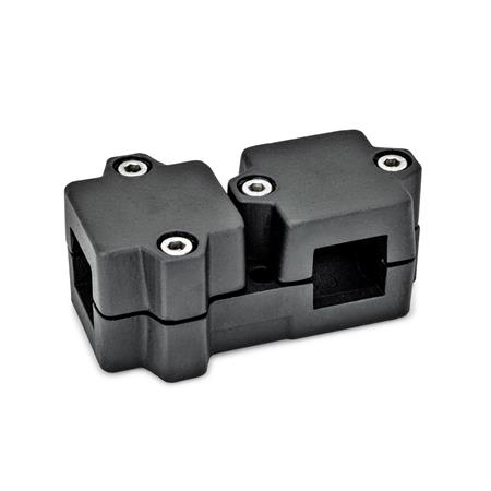GN 194 Aluminum, Multi-Part Assembly, T-Angle Connector Clamps Square s<sub>1</sub>: V 40 Finish: SW - Black, RAL 9005, textured finish Identification No.: 2 - with 4 Stainless Steel-clamping screws DIN 912