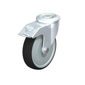 LER-PATH Steel Swivel Polyurethane Treaded Casters, with bolt hole fitting Type: K-FI-FK - Ball Bearing with Stop-Fix Brake, with Thread Guard