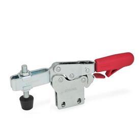 GN 820.4 Abrazaderas de palanca de actuación horizontal, de acero, con gancho de seguridad y base de montaje vertical Tipo: NLC - Versión de barra en U, con dos arandelas bridadas y montaje de husillo GN 708.1