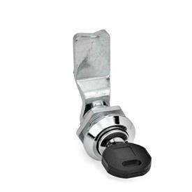 GN 115 Zinc Die-Cast Cam Locks, Chrome-Plated Locating Ring, with Operating Elements Material: ZD - Zinc fundido a presión<br />Tipo: SU - Funcionamiento con llave (cerradura diferente)