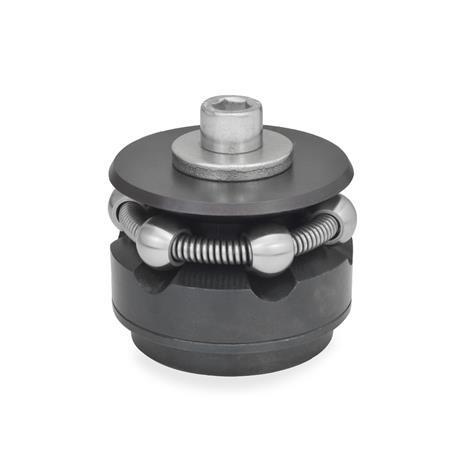 GN 411.2 Dispositivos de bloqueo circular de acero, con bolas esféricas o segmentos de sujeción que no se rayan Tipo: K - con bolas de sujeción