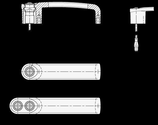GN 422 Jaladeras en U para gabinete, con función de conmutación de potencia con conector de 5 clavijas boceto