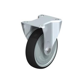 B-PATH Steel Medium Duty Polyurethane Treaded Fixed Casters, with Plate Mounting Type: K-FK - Ball Bearing with Thread Guard