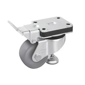 HRLK-POG Heavy pressed steel industrial Top Plate Caster, with Integrated Truck Lock, with Plain Bearing