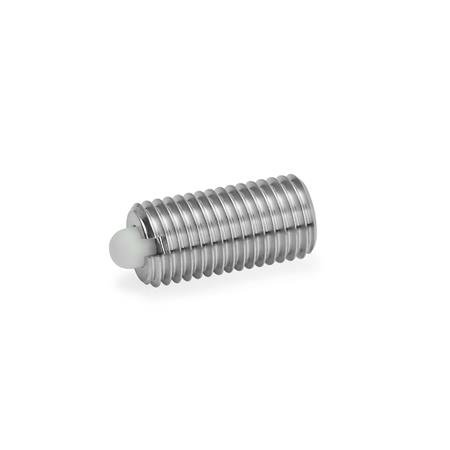 GN 616 Stainless Steel Spring Plungers, with Nose Pin Type: KN - Plastic nose pin, standard spring load