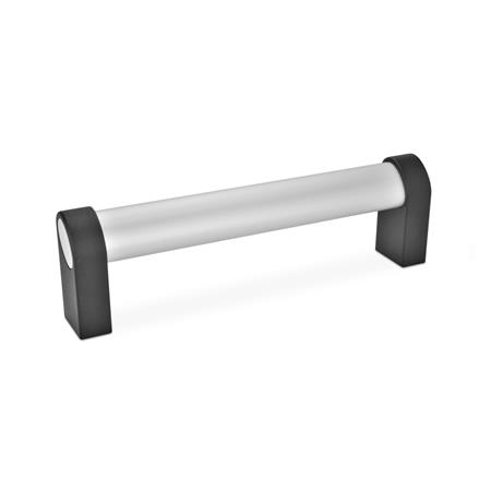 GN 335 Aluminum Oval Tubular Handles, with Inclined Handle Profile Type: A - Mounting from the back (tapped blind hole) Finish: EL - Anodized finish, natural color