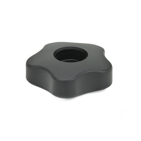 EN 5331 Perillas de cinco lóbulos de plástico tecnopolímero, con inserto cuadrado o roscado pasante de latón, tipo bajo Tipo: A - Sin tapón
