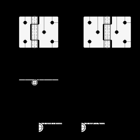 GN 136 Acero Bisagras de chapa metálica, con ala extendida boceto