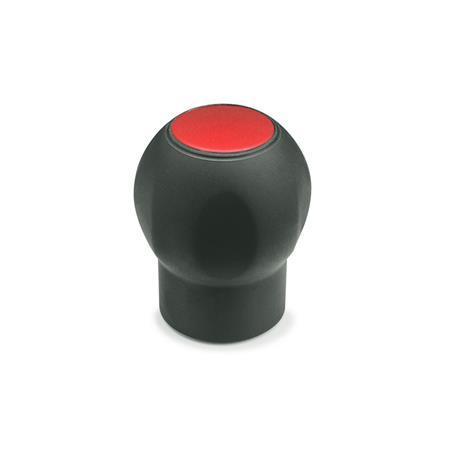 EN 675.1 Perillas suaves Ergostyle® Softline de plástico tecnopolímero, con inserto roscado, con tapón desmontable Color del tapón: DRT - Rojo, RAL 3000, acabado mate