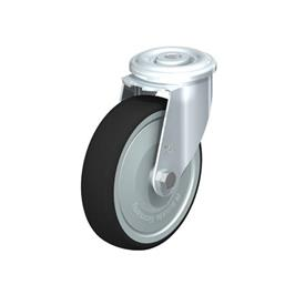 LER-PATH Steel Swivel Polyurethane Treaded Casters, with bolt hole fitting Type: K-FK - Ball Bearing with Thread Guard