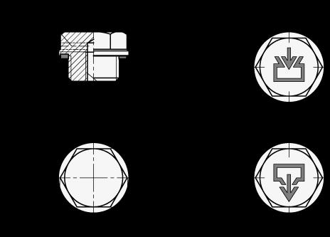 GN 742 Tapones de carga / drenaje, de aluminio, con símbolos de carga y drenaje «DIN», sello Viton boceto
