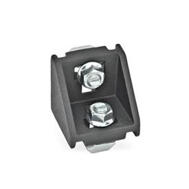 GN 960 Aluminum, Angle Brackets, For 30/40/45 mm Aluminum Profile Systems Type of angle piece: C - with assembly set<br />Finish: SW - Black, RAL 9005, textured finish