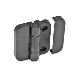 EN 122.2 Technopolymer Plastic Hinges without Indexing Positions Type: EH - 2x2 bores for hexagon screws