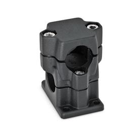 GN 141 Abrazaderas para conectores de dos vías con bridas, aluminio, montaje multipiezas, tipo orificio redondo o cuadrado   Orificio d<sub>1</sub>: B 40<br />Acabado: SW - Negro, RAL 9005, acabado texturizado