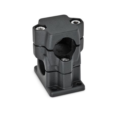 GN 141 Aluminum, Multi-Part Assembly, Flanged Two-Way Connector Clamps, Round and/or Square Bore Type   Bore d<sub>1</sub>: B 40 Finish: SW - Black, RAL 9005, textured finish