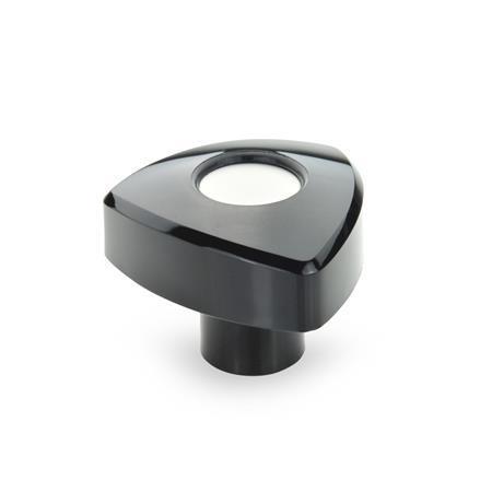 EN 5339 Perillas triangulares de plástico tecnopolímero, con inserto roscado de latón Color: SW - Negro, RAL 9005