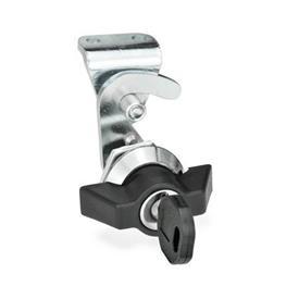 GN 115.8 Pestillos tipo gancho de zinc fundido a presión, bloqueables Tipo: SCK - Funcionamiento con llave de apriete (misma cerradura)<br />Identificación núm.: 2 - con soporte de cerradura<br />Anillo de posición de acabado: CR - Acabado cromado