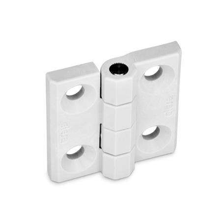 EN 237.1 Plastic Cleanline Hinges, With Countersunk Thru Holes Colour: CL - White, RAL 9002