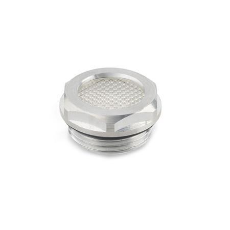 GN 744 Mirillas de nivel de líquido de aluminio, con mirilla de cristal transparente Form: A - con efecto prismático (solo d<sub>1</sub> = 14/18/24)