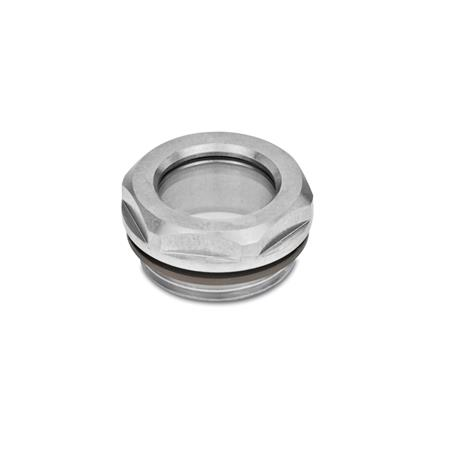 GN 743.5 Stainless Steel Fluid Level Sight Glasses, with ESG Glass, resistant up to 356° F (180° C) Type: B - Without reflector