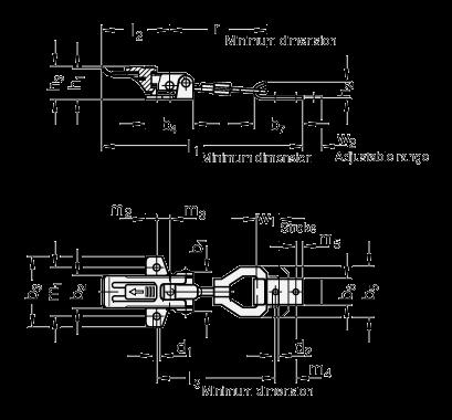 GN 831.2 Pestillos de palanca, de acero / acero inoxidable, con soporte de cierre de seguridad boceto