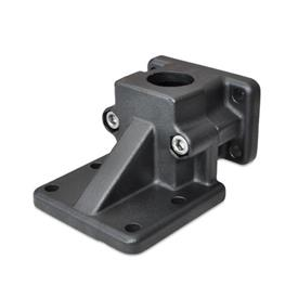 GN 171 Aluminum, Split Assembly, Flanged Base Plate Connector Clamps Finish: SW - Black, RAL 9005, textured finish