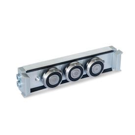 GN 2424 Carros de rodillos, aluminio o acero, medidas métricas, para rieles de guías de rodillo GN 2422 Tipo: N - Carro de rodillos normal, disposición central<br />Versión: U - con junta de fricción para riel de cojinetes flotantes (riel en U)