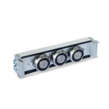GN 2424 Metric Size, Aluminum or Steel, Cam Roller Carriages, For GN 2422 Cam Roller Guide Rails Type: N - Normal roller carriage, central arrangement Version: U - with wiper for floating bearing rail (U-rail)