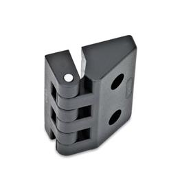EN 154 Bisagras de tecnopolimero plástico Tipo: C - 2 orificios ciegos roscados / 2 orificios para tornillos de cabeza hueca