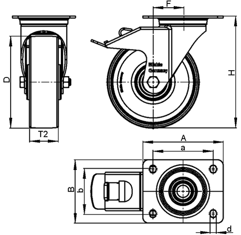 LE-PATH Steel Medium Duty Swivel Polyurethane Treaded Casters, with Plate Mounting sketch