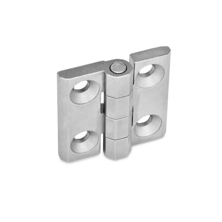 GN 237 Stainless Steel Hinges, Countersunk Thru Holes or Threaded Stud Type Material: NI - Stainless steel Type: A - 2x2 bores for countersunk screws