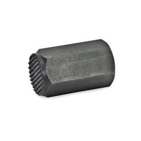 GN 409.2 Elementos de posición de acero, roscado Tipo: R - Cara de contacto dentada