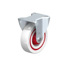 B-POW Steel Noise Absorbing Fixed Casters, with Medium Duty Brackets   Type: K-FK - Ball Bearing with Thread Guard