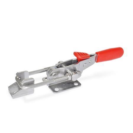 GN 851.3 Abrazaderas de palanca de tipo pestillo horizontal, de acero inoxidable, con gancho de seguridad, con base de montaje horizontal   Tipo: T6 - Con pestillo de tracción, con soporte de cierre Material: A4 - Acero inoxidable