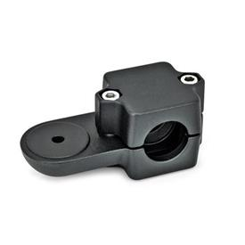 GN 279 Conectores de abrazadera giratoria, aluminio, montaje dividido, tipo orificio redondo  Orificio d<sub>1</sub>: B 45<br />Acabado: SW - Negro, RAL 9005, acabado texturizado<br />Identificación núm.: 2 - Con 2 tornillos de sujeción DIN 912, de acero inoxidable<br />Tipo: OZ - sin peldaño de centrado (suave)