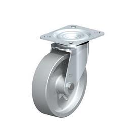 L-G Rodajas giratorias de acero zincado con ruedas de hierro fundido de servicio medio, con placa de montaje, serie de soportes estándar  Type: G - Cojinete liso