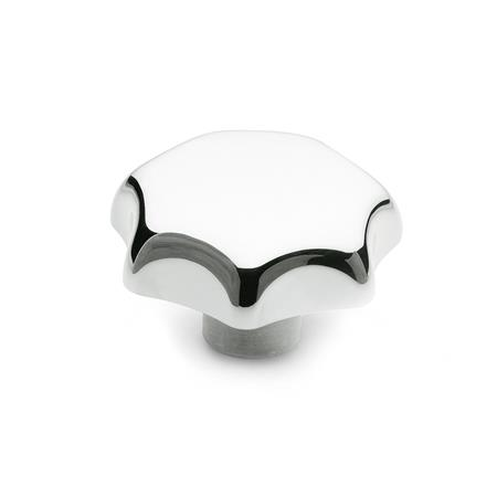 DIN 6336 Aluminum Star Knobs, with Tapped or Plain Bore Type: C - With plain blind bore, tol. H7 Finish: PL - Polished finish
