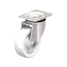 LKX-SPO Heavy Duty Stainless Steel Nylon Wheel Swivel Casters, with Plate Mounting, Heavy Duty Bracket Series Type: G - Plain Bearing
