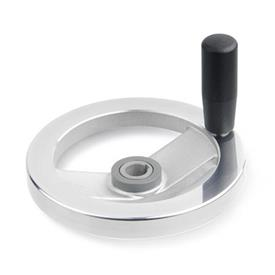 GN 322.5 Aluminum Two Spoked Safety Clutch Handwheels, with Needle Bearing  Type: D - With revolving steel handle