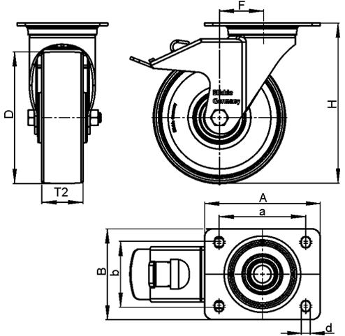 LKPXA-TPA Rodajas giratorias de acero inoxidable de servicio ligero, con ruedas de caucho termoplástico y soportes pesados   boceto