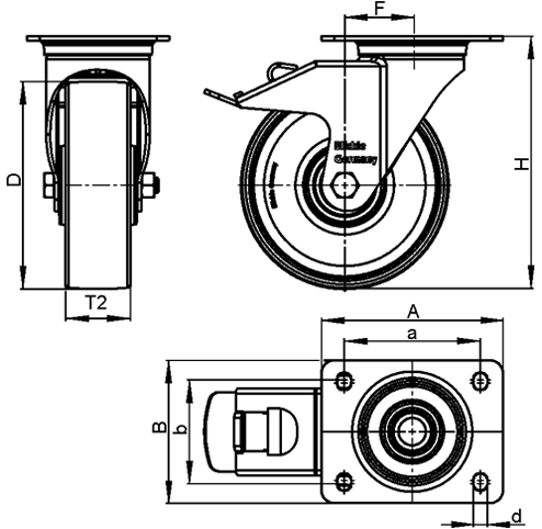 LKPXA-TPA Stainless Steel Light Duty Swivel Casters, with Thermoplastic Rubber Wheels and Heavy Brackets   sketch