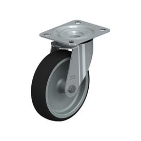 LE-PATH Steel Medium Duty Swivel Polyurethane Treaded Casters, with Plate Mounting Type: G - Plain Bearing