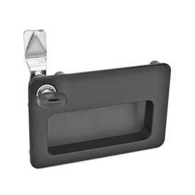 GN 115.10 Zinc Die-Cast Locks, with Gripping Tray Type: SC - Operation with key (Keyed alike)<br />Color: SW - Black, RAL 9005, textured finish<br />Identification no.: 1 - Operation in the illustrated position top left