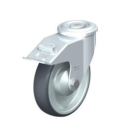 LER-TPA Rodajas giratorias de acero de servicio ligero, ajuste con agujero para perno, ruedas de caucho termoplástico Type: K-FI - Cojinete de bolas con freno «stop-fix»