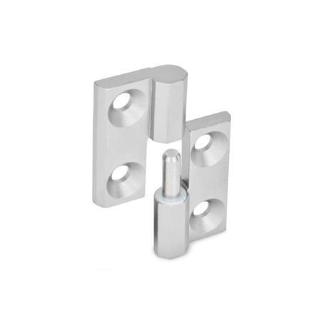 GN 337 Bisagras desmontables de acero inoxidable, con orificios para tornillo avellanado Material: NI - Acero inoxidable Identificación núm.: 1 - (perno) de soporte fijo derecho